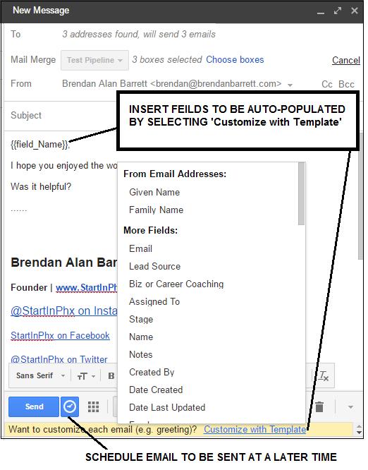 Customized Mass Emails Streak CRM